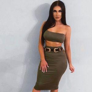 Dresses & Skirts - Women's Olive Midi Skirt Set